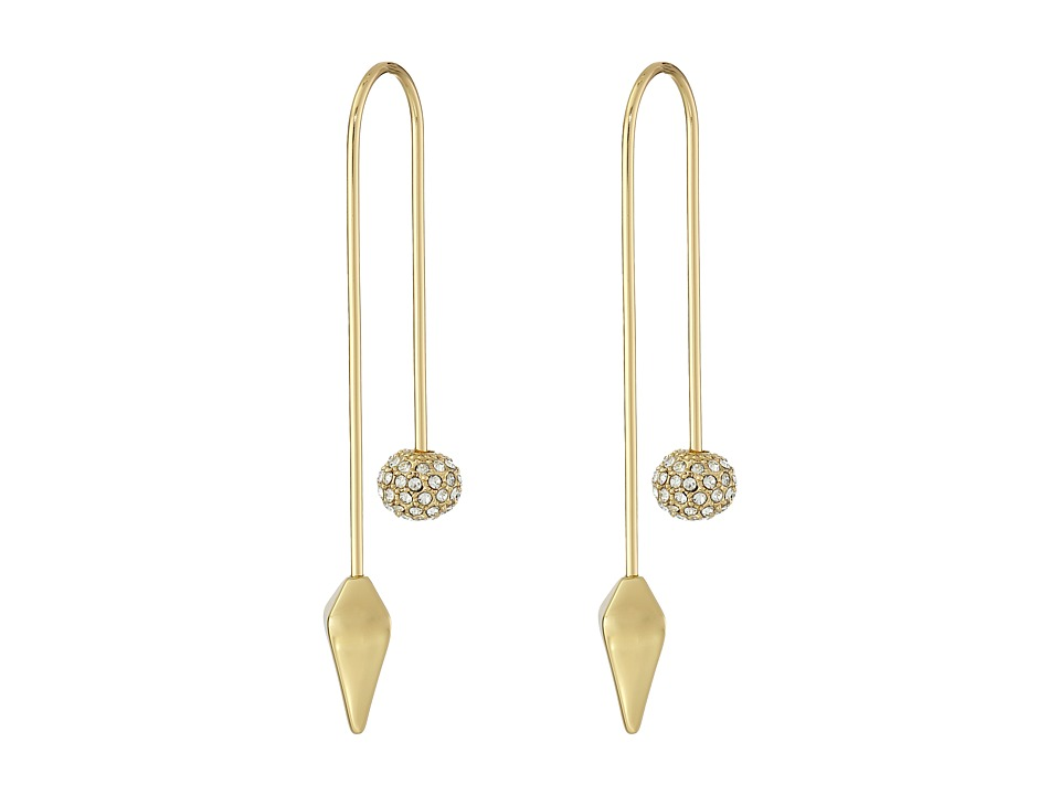 Rebecca Minkoff - Cube/Ball Threader Earrings (Gold Toned/Crystal) Earring