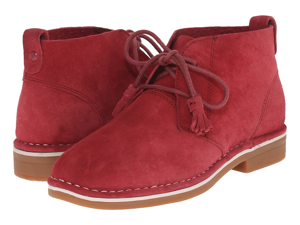Hush Puppies Cyra Catelyn Dark Red Suede Womens Lace up Boots