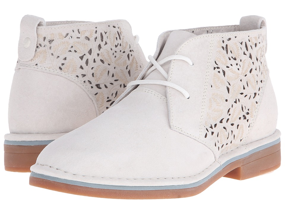 Hush Puppies Cyra Catelyn II Off White Perf Suede Womens Lace up casual Shoes