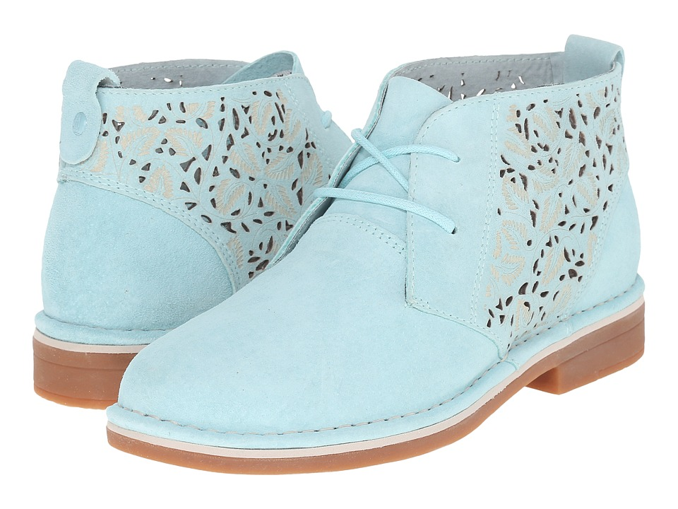 Hush Puppies Cyra Catelyn II Aqua Blue Perf Suede Womens Lace up casual Shoes