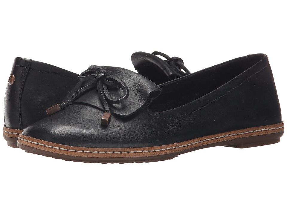 Hush Puppies Adena Piper Black Leather Womens Slip on Shoes