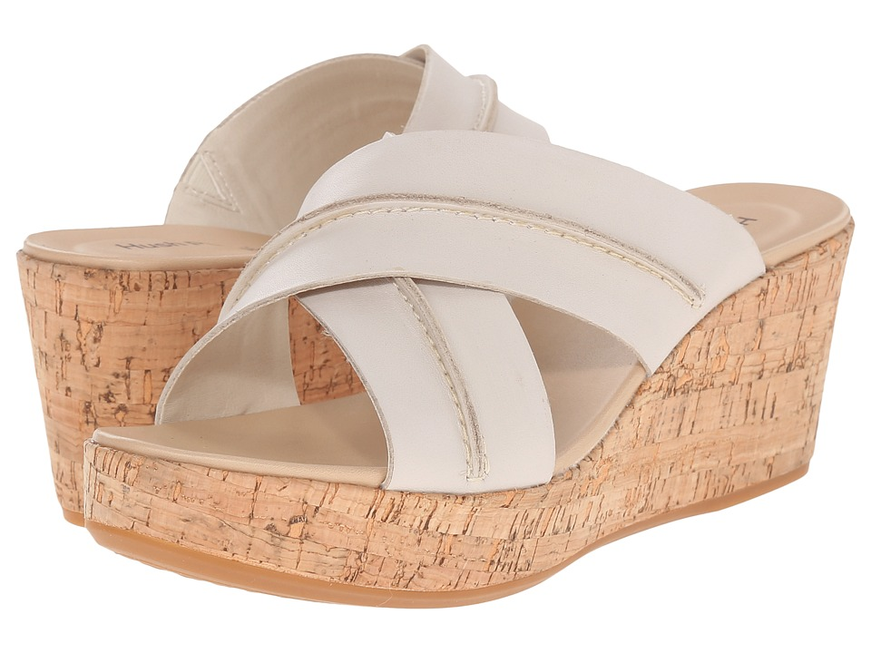 Hush Puppies Belinda Durante Off White Leather Womens Wedge Shoes