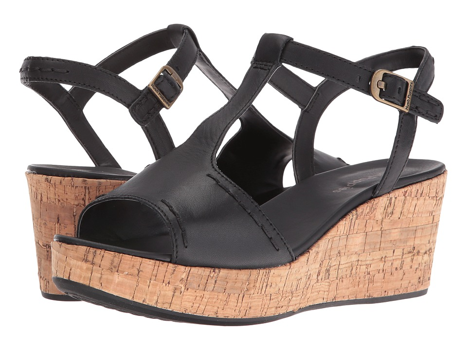 Hush Puppies Blakely Durante Black Leather Womens Wedge Shoes