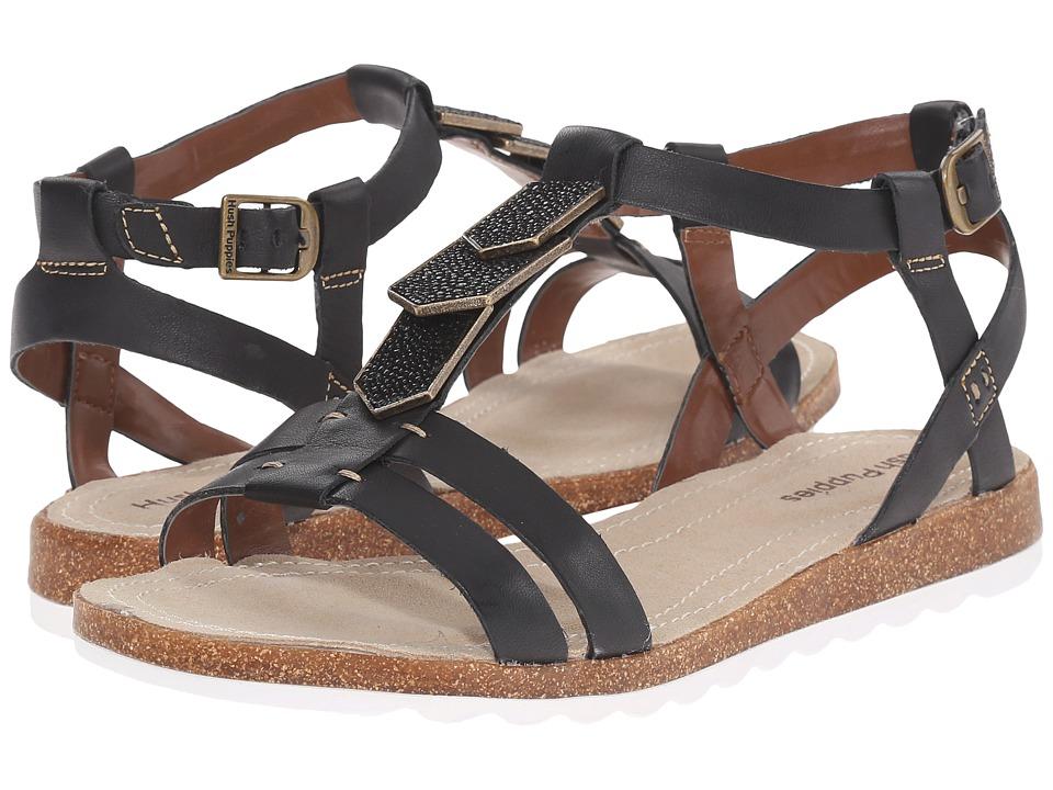 Hush Puppies Bretta Jade Black Leather Womens Sandals