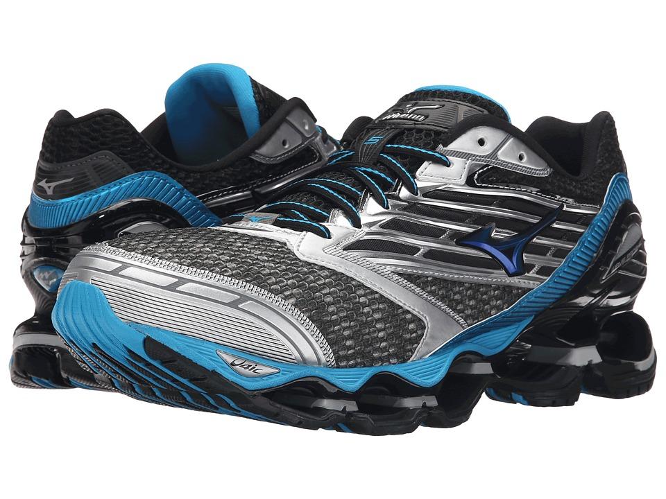 Mizuno Wave Prophecy 5 Gunmetal/Atomic Blue/Black Mens Running Shoes