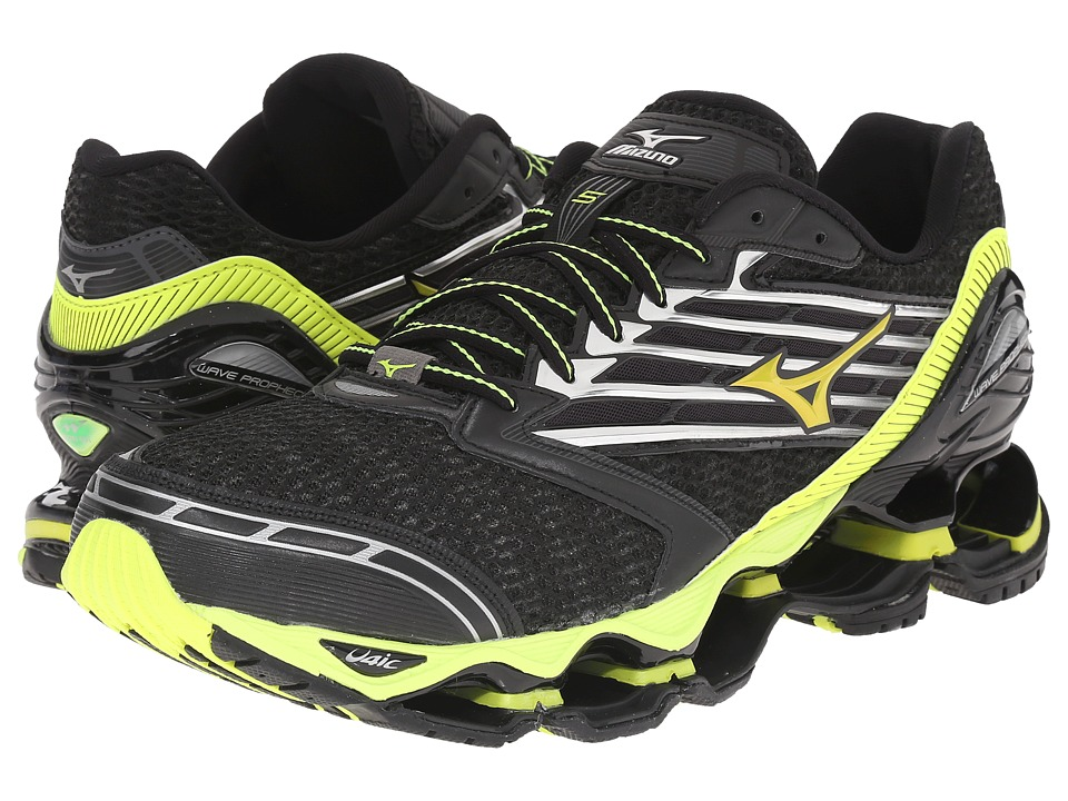 Mizuno Wave Prophecy 5 Black/Safety Yellow/Silver Mens Running Shoes