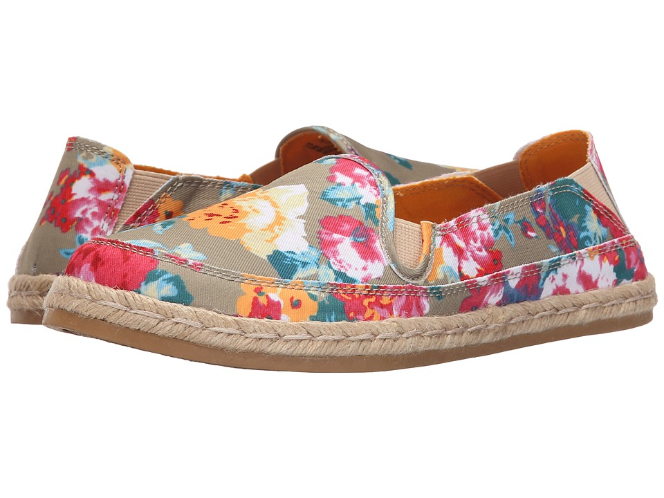 Hush Puppies Cassie Kelli Natural Floral Canvas Womens Slip on Shoes