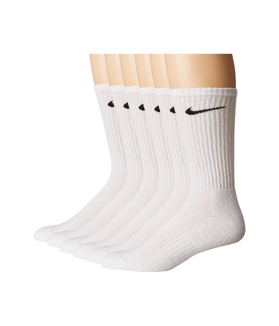 Nike - Bag Cotton Crew 6-Pair Pack (White/Black) Crew Cut Socks Shoes