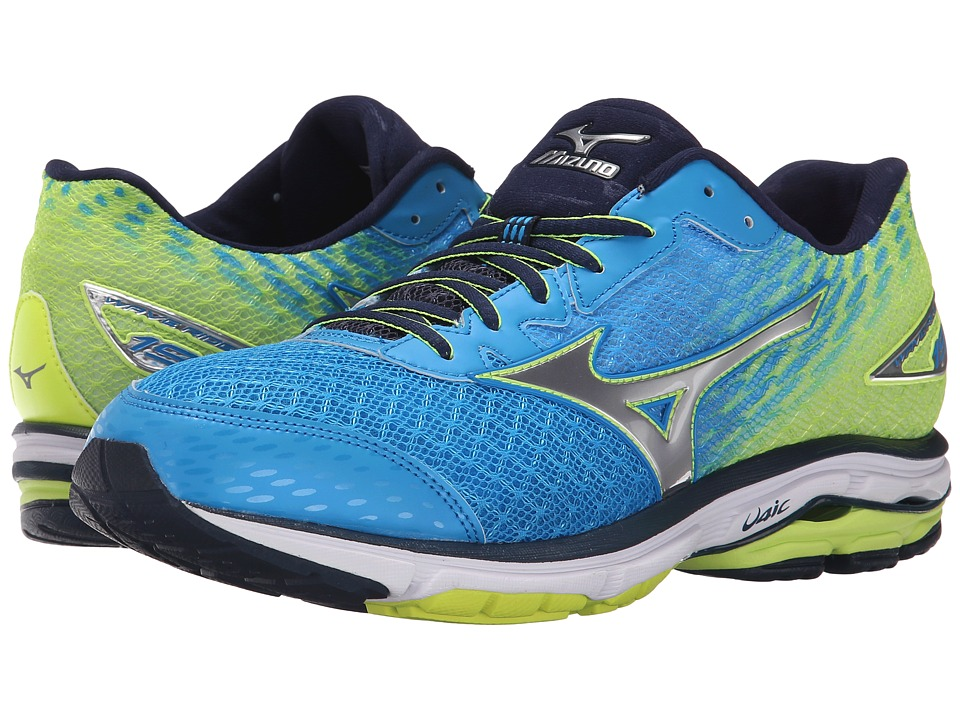 Mizuno - Wave Rider 19 (Dude Blue/Silver/Safety Yellow) Men
