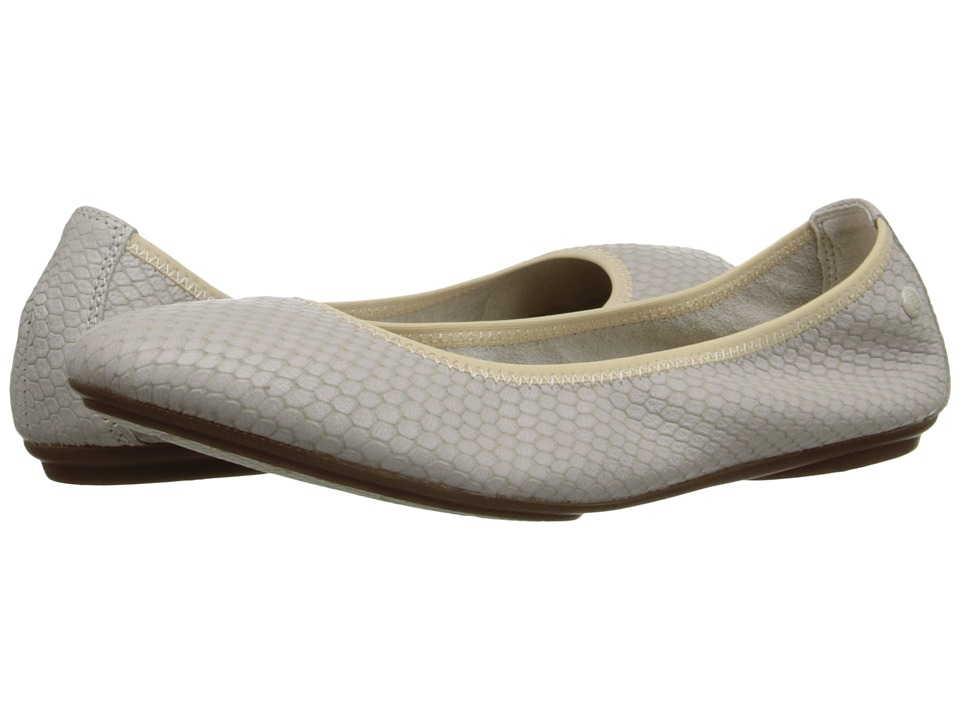Hush Puppies Chaste Ballet Off White Embossed Leather Womens Flat Shoes