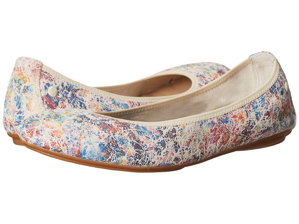 Hush Puppies Chaste Ballet White Novelty Leather Womens Flat Shoes