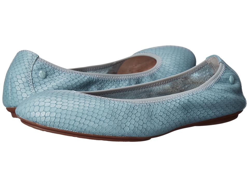 Hush Puppies Chaste Ballet Slate Blue Embossed Leather Womens Flat Shoes