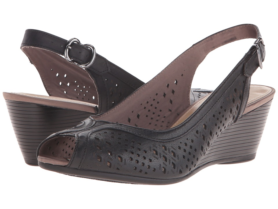 Hush Puppies Baxley Rhea Black Leather Womens Wedge Shoes