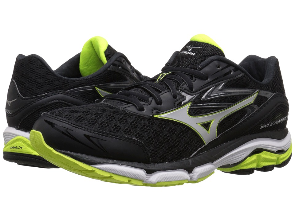 Mizuno - Wave Inspire 12 (Black/Silver/Safety Yellow) Men