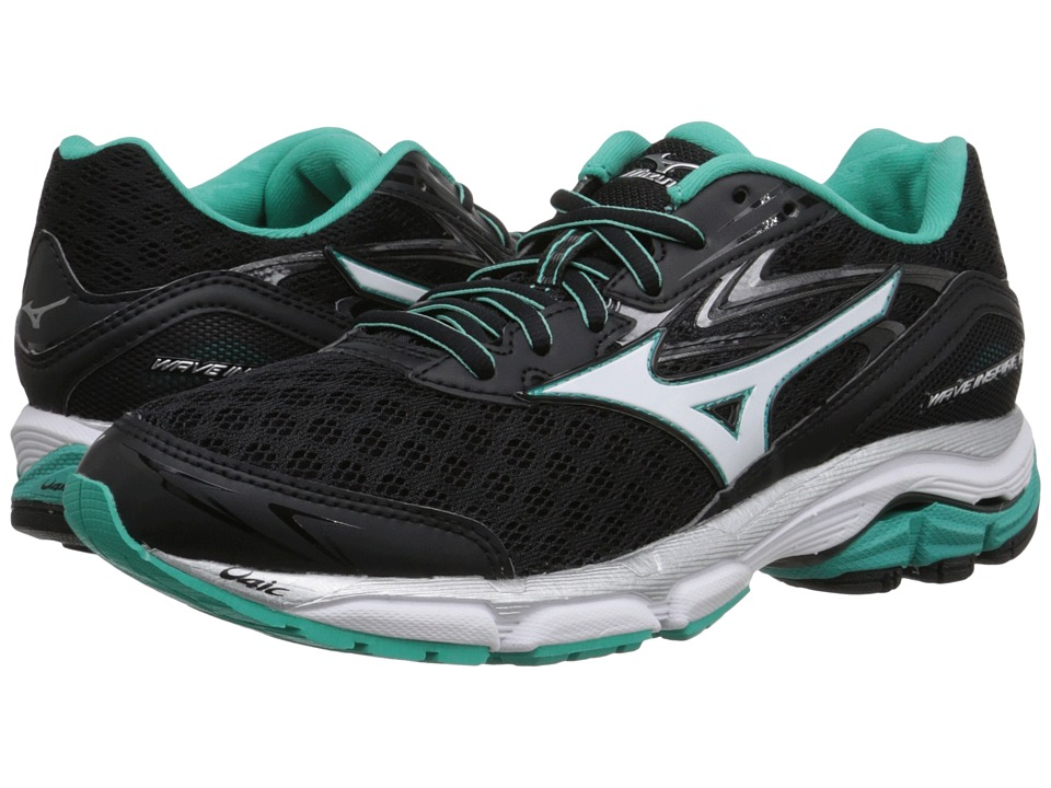 Mizuno - Wave Inspire 12 (Black/White/Atlantis) Women