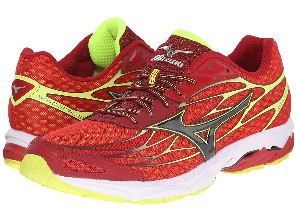 Mizuno Wave Catalyst Chinese Red/Black/Safety Yellow Mens Running Shoes