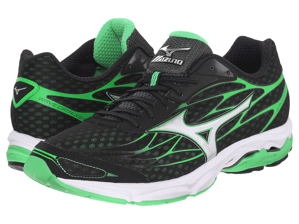 Mizuno Wave Catalyst Black/Silver/Irish Green Mens Running Shoes