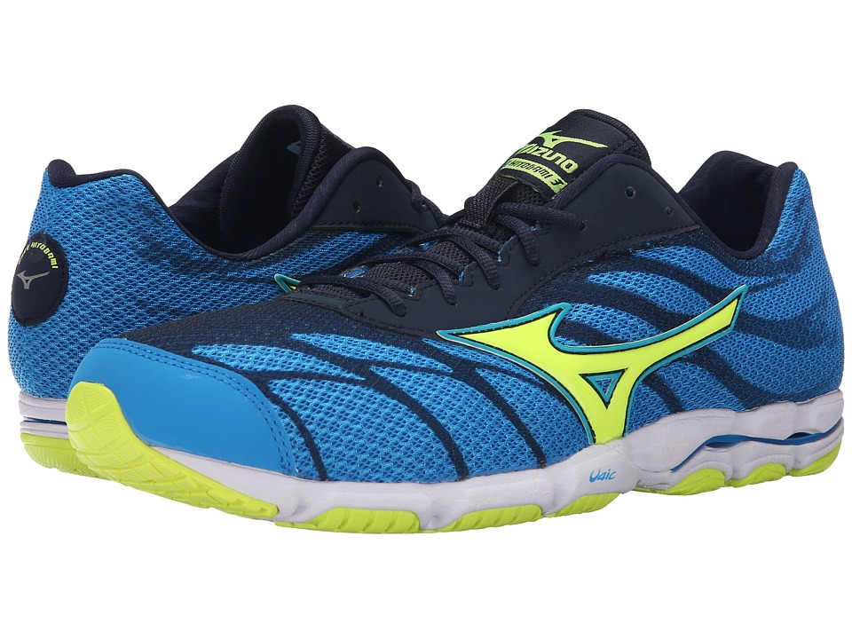 Mizuno - Wave Hitogami 3 (Dude Blue/Safety Yellow/Dress Blue) Men