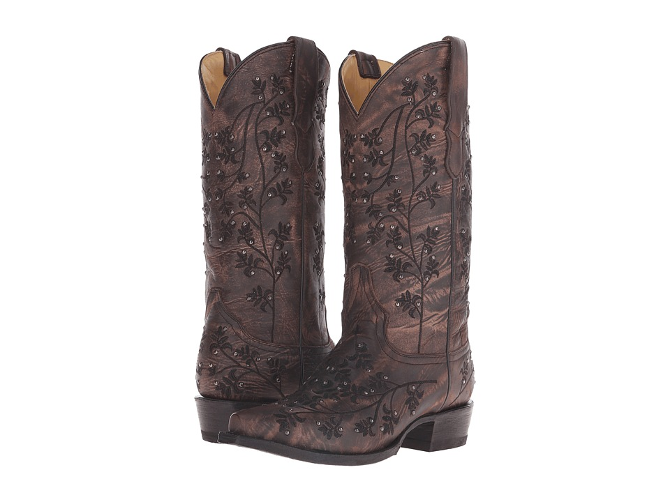 Stetson - Desiree Snip (Black Washed Vamp) Cowboy Boots