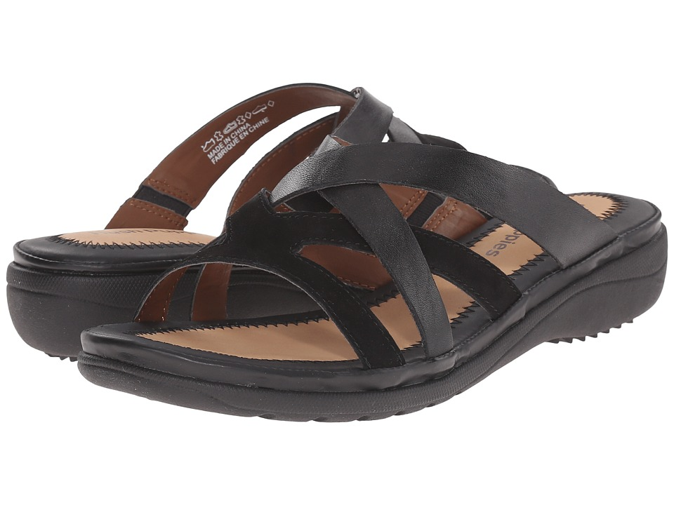 Hush Puppies Golva Keaton Black Leather/Suede Womens Sandals