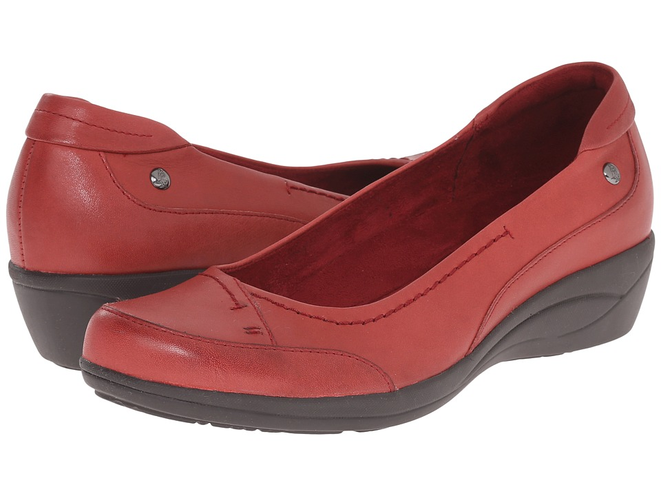 Hush Puppies Kellin Oleena Dark Red Leather Womens Slip on Shoes