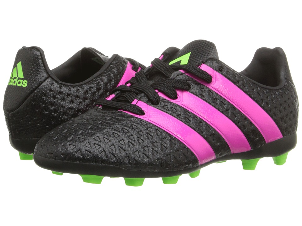 adidas Kids ACE 16 4 FxG Toddler/Little Kid/Big Kid Black/Shock Pink/Solar Green Kids Shoes