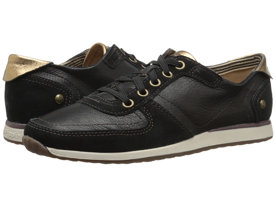 Hush Puppies Chazy Dayo Black Leather Womens Lace up casual Shoes