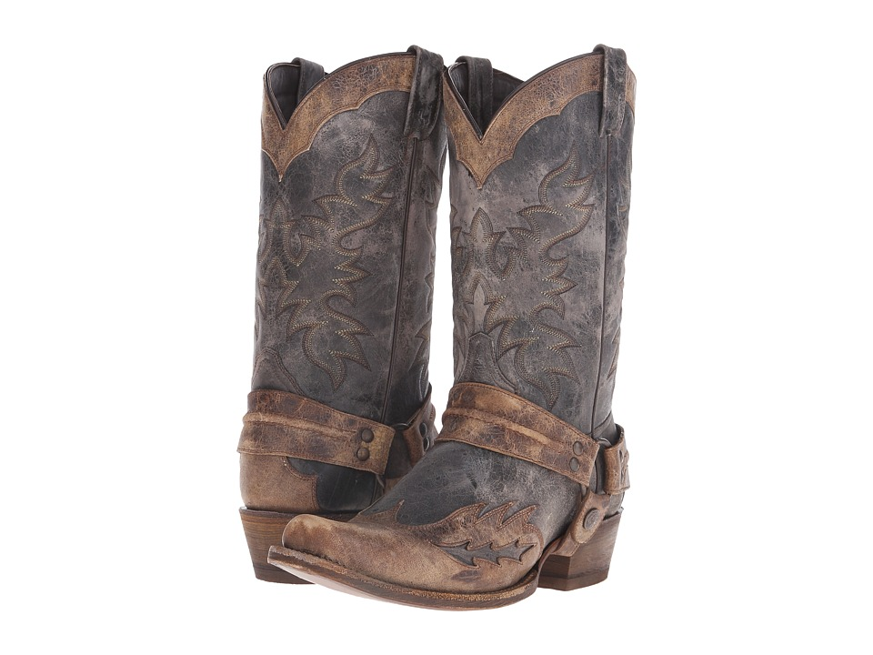 Stetson - Sundance Kid Outlaw (Washed Crater Black) Cowboy Boots