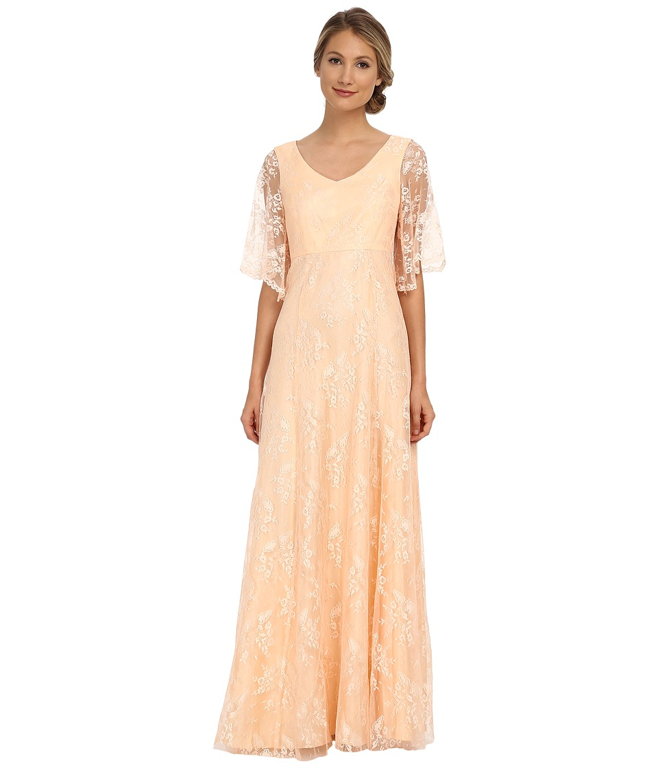 Donna Morgan Lace with Sleeve Apricot Womens Dress