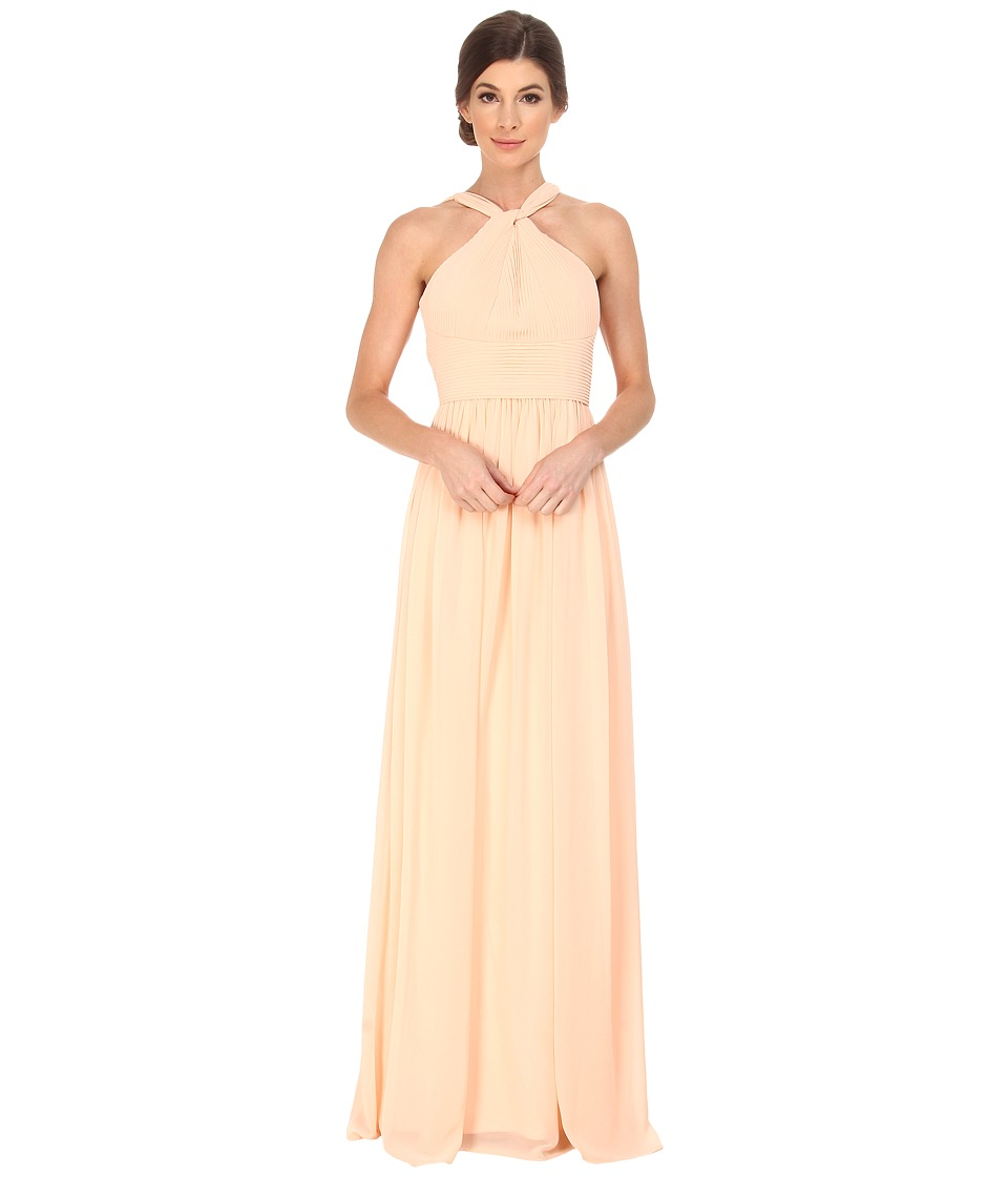 Donna Morgan Halter with Pleats Apricot Womens Dress