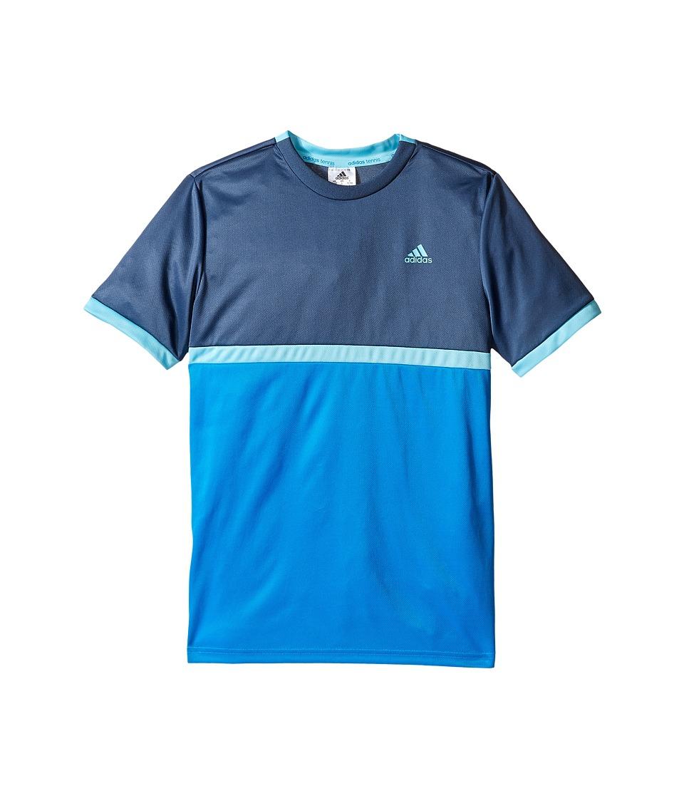 adidas Kids Court Tee (Little Kids/Big Kids) (Shock Blue/Mineral Blue) Boy
