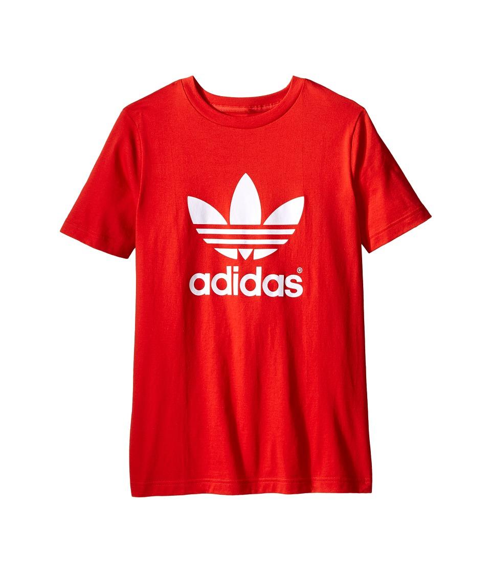 adidas Originals Kids - J Trefoil Tee (Toddler/Little Kids/Big Kids) (Lush Red St/White) Boy