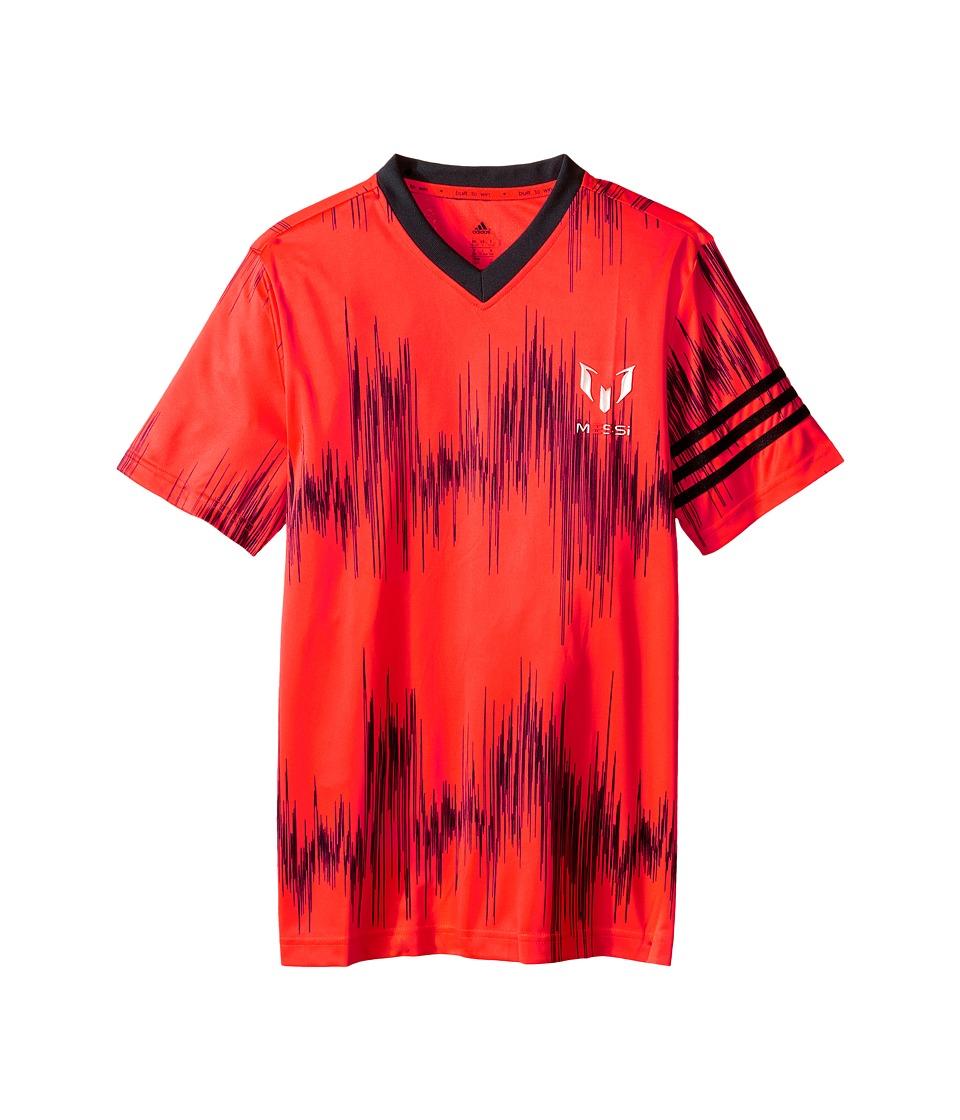 adidas Kids Messi Aop Tee Little Kids/Big Kids Solar Red/Black Kids Short Sleeve Pullover