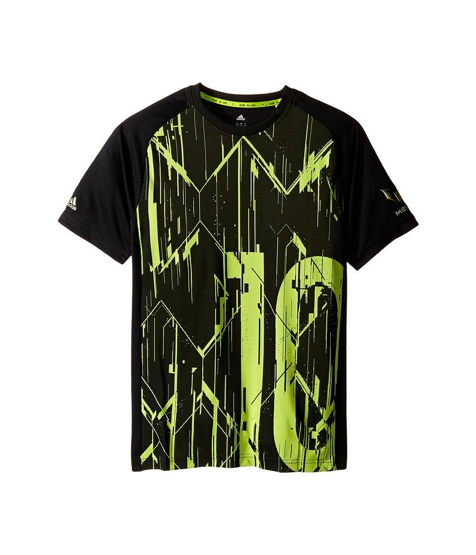 adidas Kids - Messi Icon Tee (Little Kids/Big Kids) (Black/Semi Solar Slime) Kid