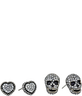 Betsey Johnson - CZ Duos Heart & Skull Stud Earrings