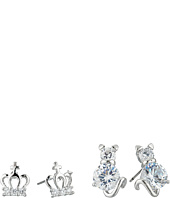 Betsey Johnson - Cubic Zirconia Cat Crown Duo Stud Earrings