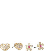 Betsey Johnson - CZ Duos Flower & Heart Stud Earrings
