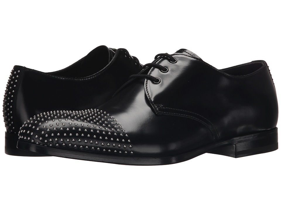 Alexander McQueen Studded Cap Oxford Black Mens Lace Up Cap Toe Shoes