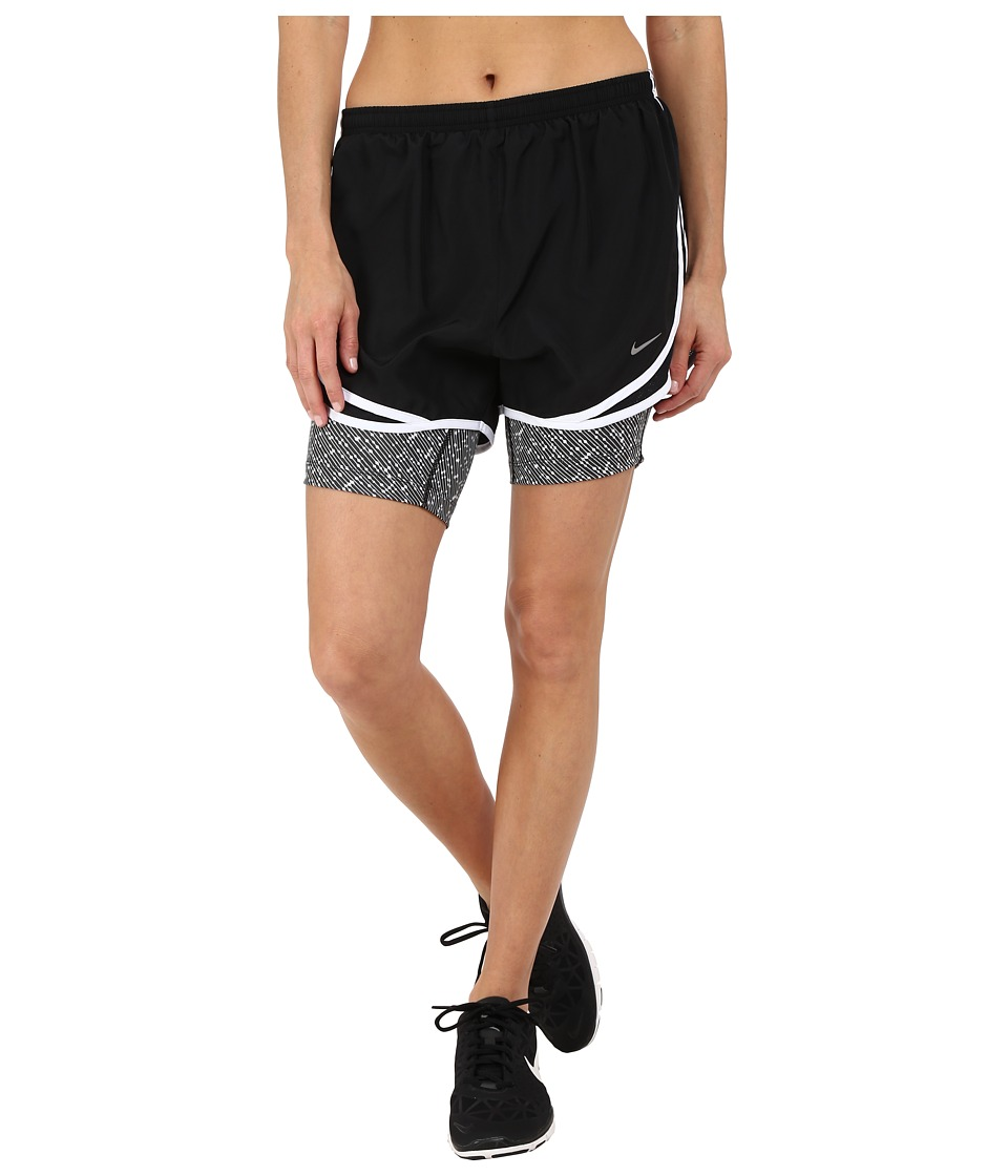 Nike 2 in 1 Tempo Print Compression Short Black/Black/White/Reflective Silver Womens Shorts