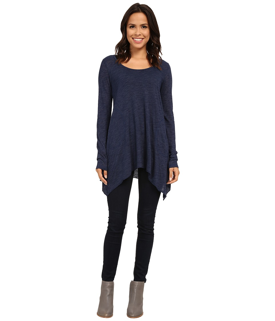 Allen Allen L/S Angled 2-Pocket Scoop Tunic (Lapis) Women