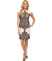 Adrianna Papell - Cap Sleeve Dress with Contrast Lace Overlay