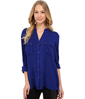 Adrianna Papell - V-Neck Long Sleeved Blouse with Pockets