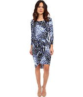 Adrianna Papell - Print Scoop Neck Long Sleeve Knot Dress