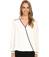 Adrianna Papell - Asymmetric Wrap Front Top with Contrast Binding