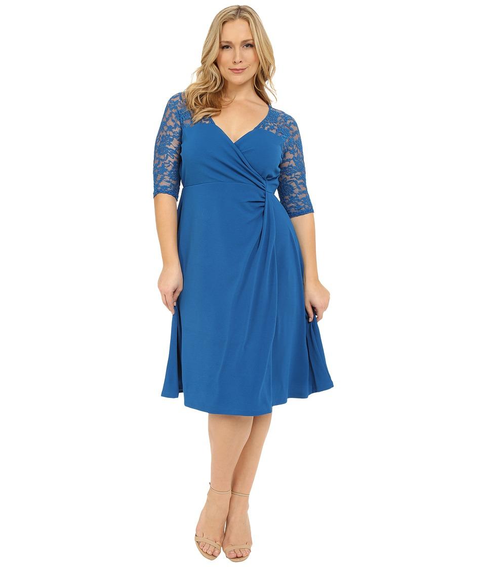 Kiyonna Lavish Lace Dress (Dark Indigo) Women