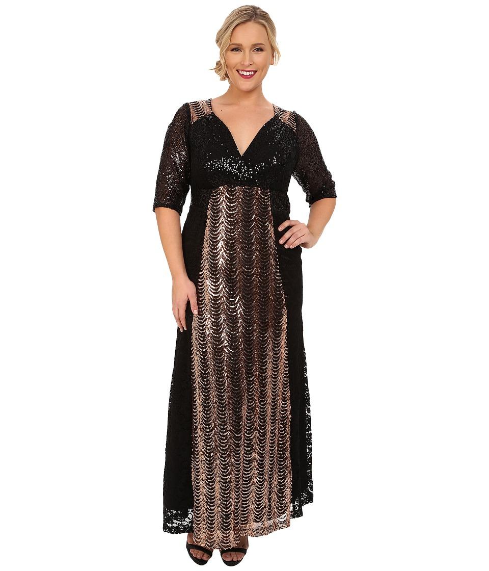Kiyonna - Grand Gatsby Gown Rose Gold Womens Dress $258.00 AT vintagedancer.com