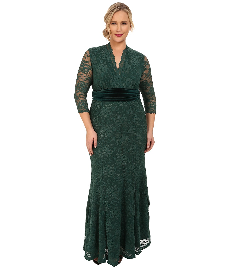 Kiyonna - Luxurious Lace Gown Garden Estate Womens Dress $228.00 AT vintagedancer.com