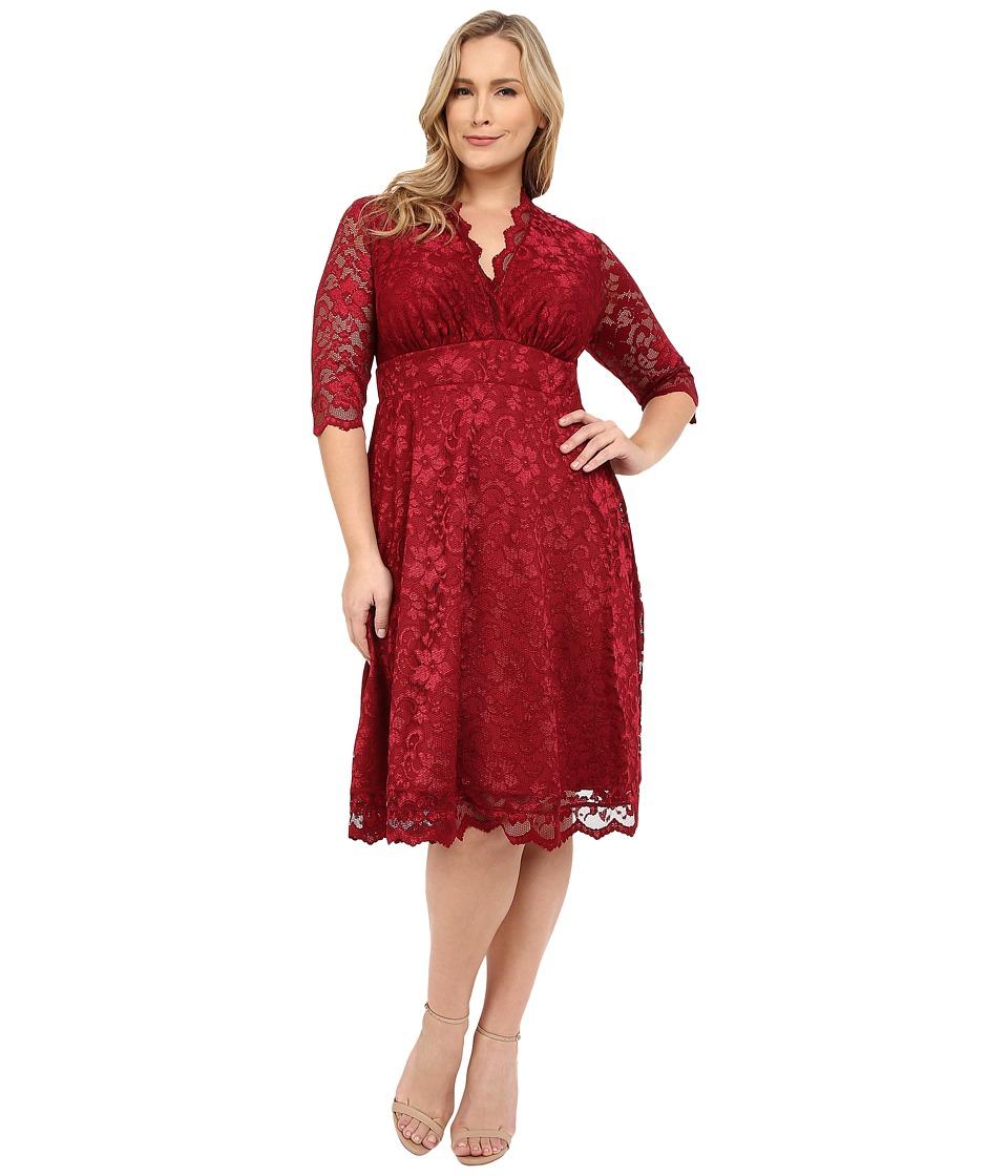 Kiyonna Mademoiselle Lace Dress (Pinot Noir) Women