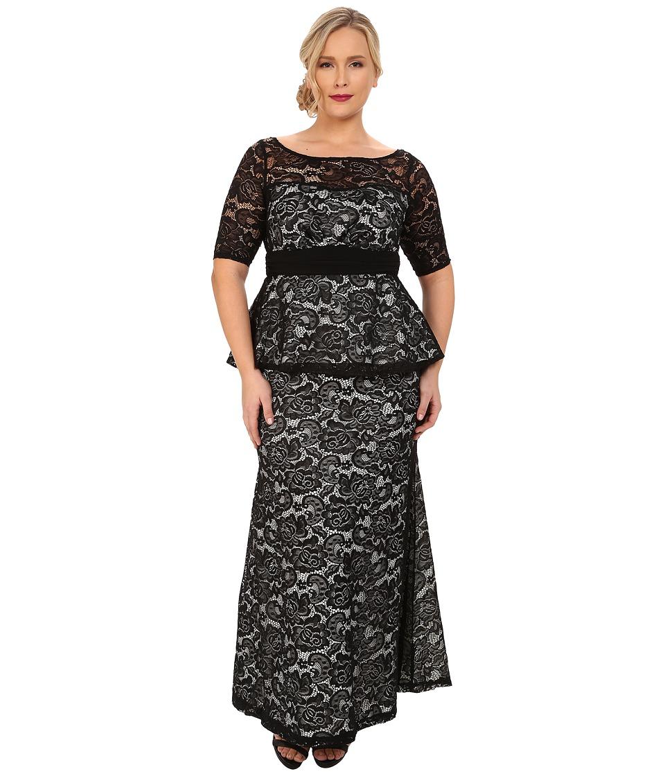 Kiyonna Astoria Lace Peplum Gown White Jasmine Womens Dress