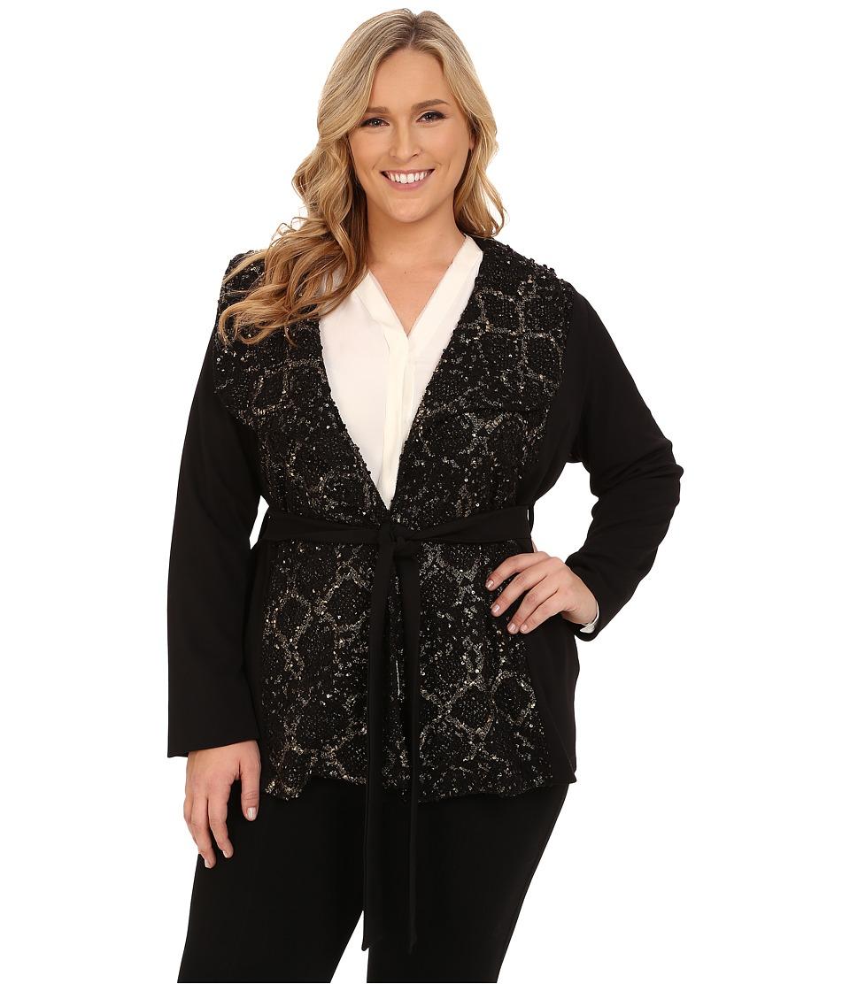 Kiyonna Boucle Wrap Coat Black Shimmer Mix Womens Coat